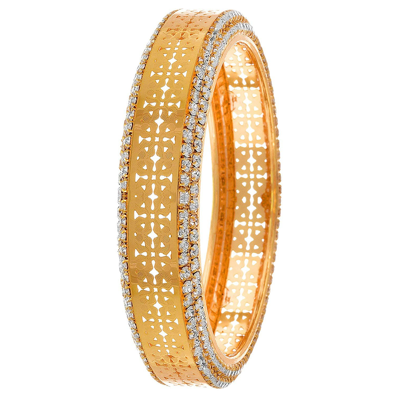 Traditional Ethnic One Gram Gold Plated Austrian Diamond Designer Bangle for Women & Girls.