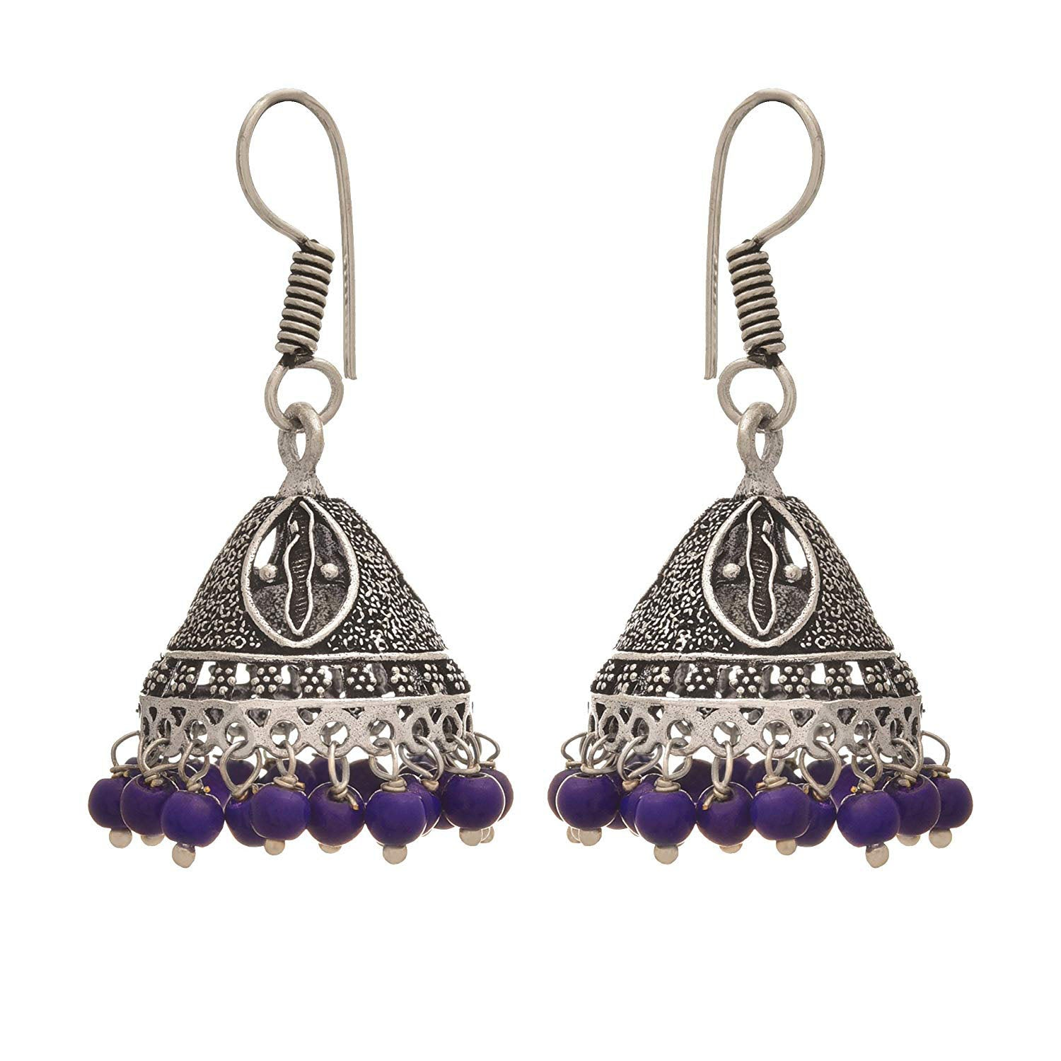 Traditional Ethnic Handmade German Silver Plated Oxidised Bead Designer Jhmki Earring For Women & Girls.