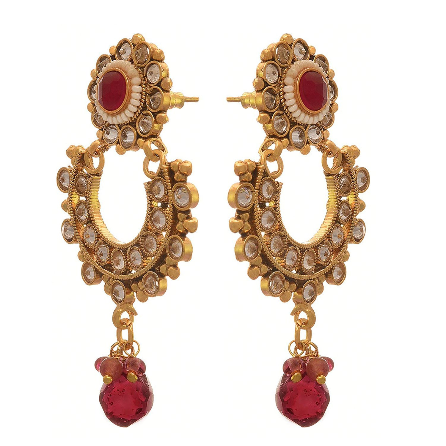 Traditional and Ethnic One Gram Gold Plated Pearl Stone & Diamond Designer Earring for Girls and Women.