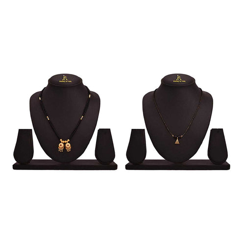 Traditional Ethnic One Gram Gold Plated Combo of 2 Mangalsutra with black beaded chain for Women.