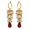JFL- Traditional Ethnic White Pearl One Gram Gold Plated Designer jhumki with Stone Dangler for Women & Girls