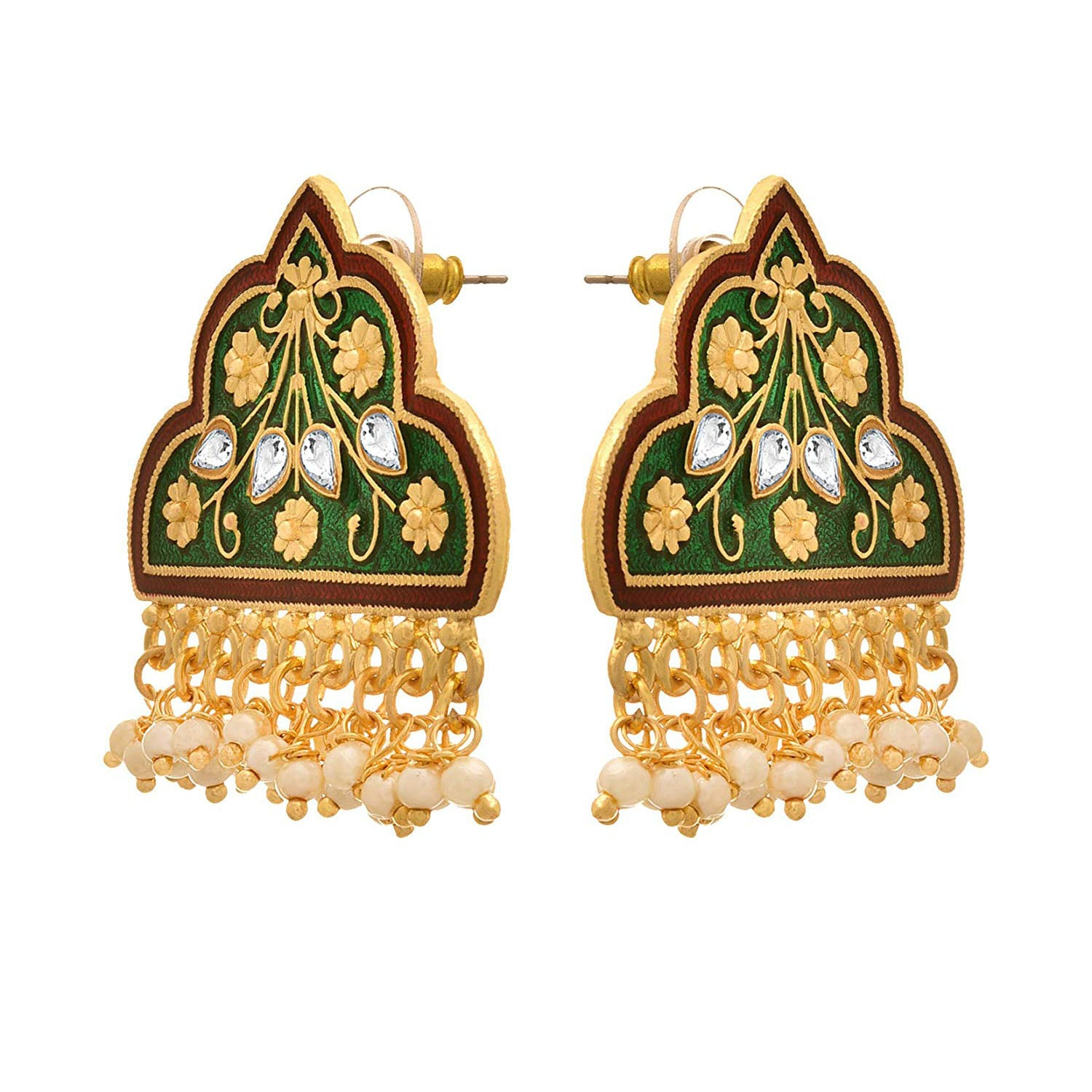 JFL - Traditional Ethnic One Gram Gold Plated Meenakari Designer Earring for Girls & Women