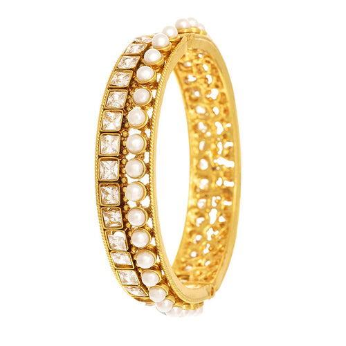 JFL -Traditional Ethnic One Gram Gold Plated Pearl & Cz Diamond Designer Openable Bangle Kada for Girls & Women