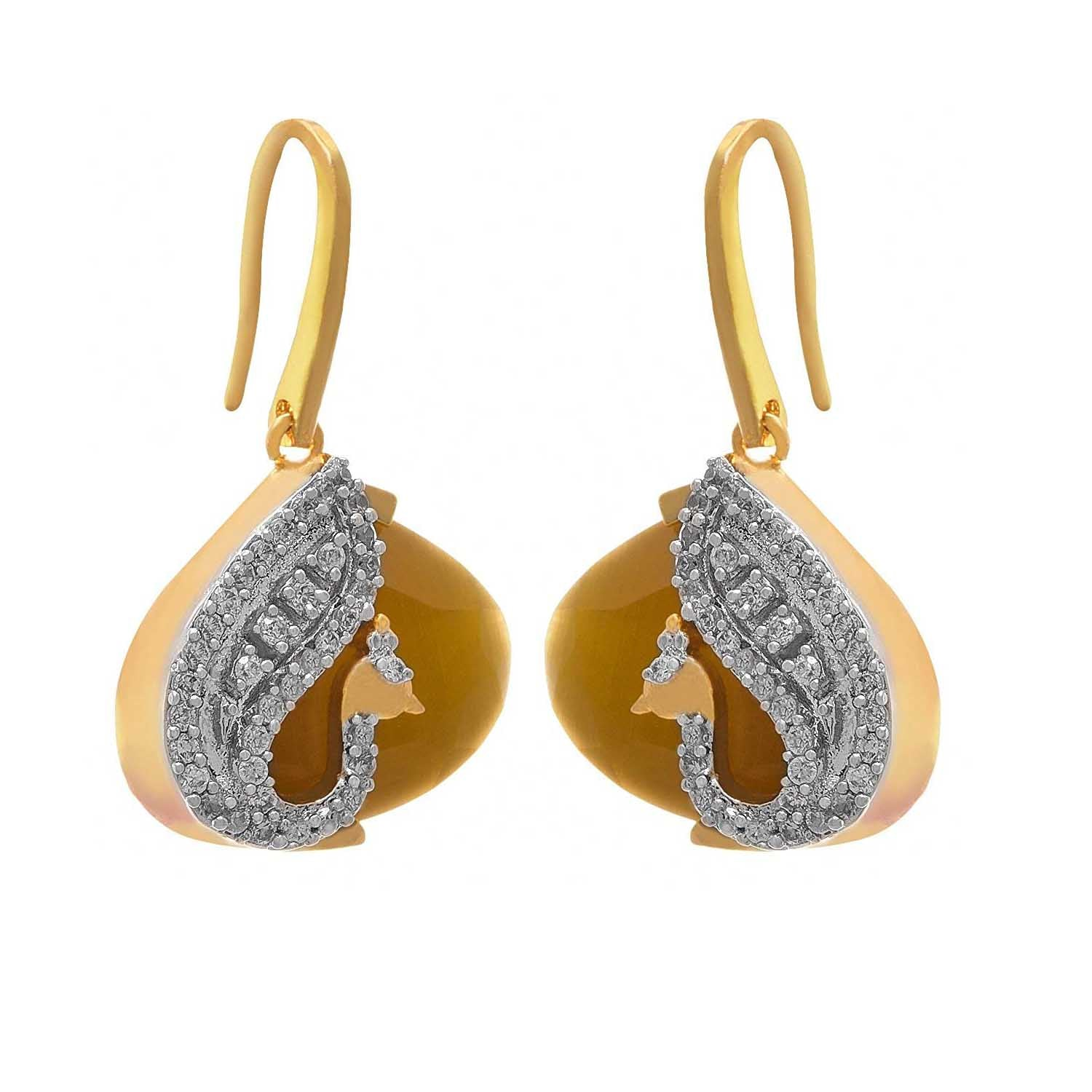 JFL- Fusion Ethnic One Gram Gold Plated Peacock Cz American Diamond Yellow Designer Earrings for Women and Girls.