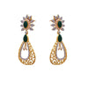 JFL - Fusion Ethnic One Gram Gold Plated Cz American Diamond Green Stone Designer Earring for Girls and Women. (Green)