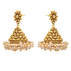 Traditional Ethnic One Gram Gold Plated Pearl Designer Jhumka for Women & Girls