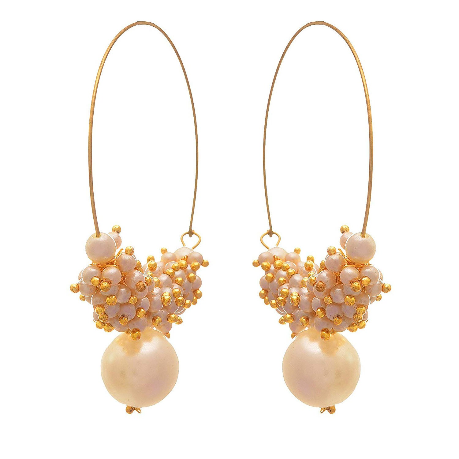 JFL - Traditional Ethnic One Gram Gold Plated Pearls Designer Bali Earring for Women & Girls.
