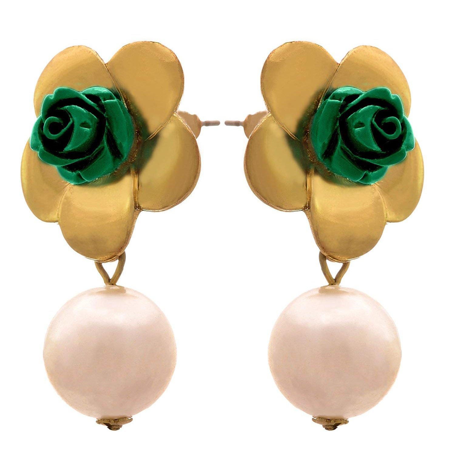 Jfl- Traditional Ethnic One Gram Gold Plated Green Rose Earrings For Women And Girls.