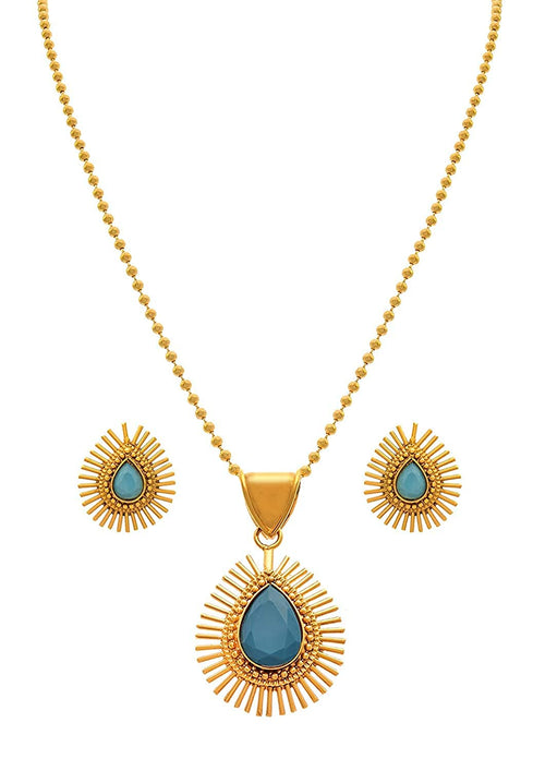 JFL - Jewellery for Less Stylish Glossy Stone Drop Shaped Spiked Gold - Plated Pendant Set for Women for All Occasion