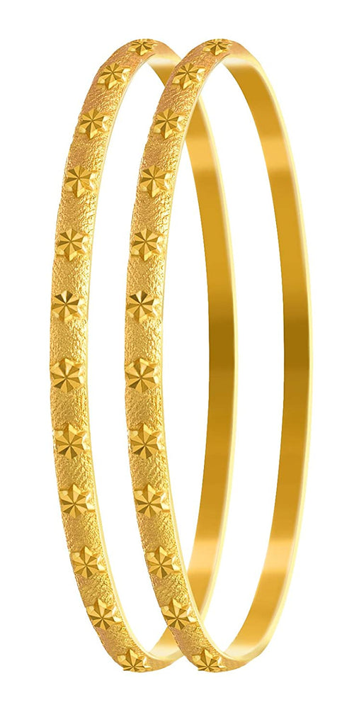 Jfl - Jewellery For Less Traditional Ethnic One Gram Matt Gold Plated Bangle Set For Women & Girls