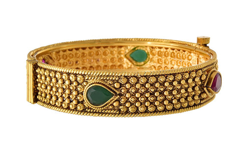 JFL - Traditional Designer Artificial Glod Plated Red & Green Stone Openable Bangle Kada for Women