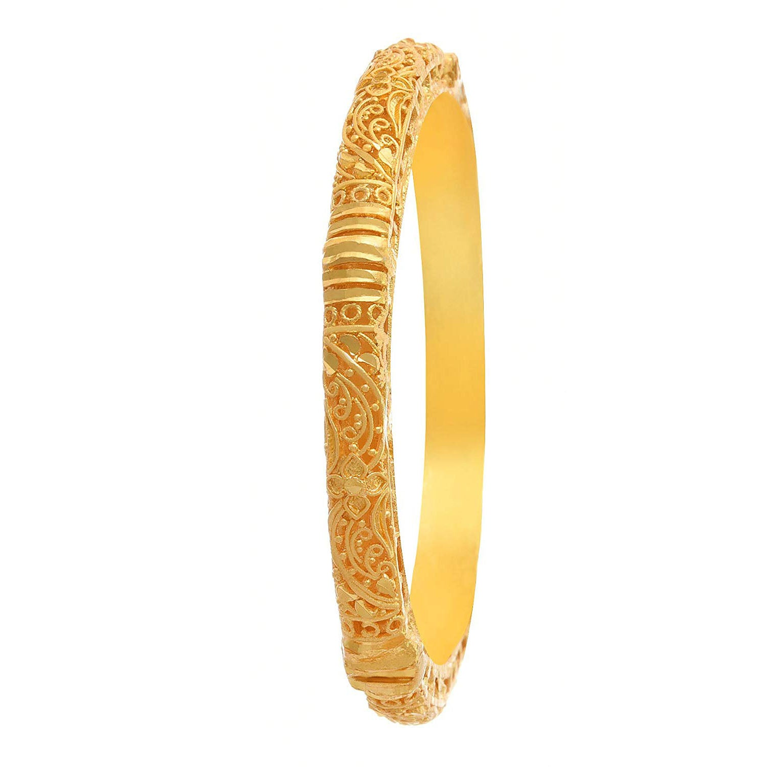 JFL -Jewellery for Less Gold Plated Matt Designer Openable Bangle for Women and Girls (Golden)
