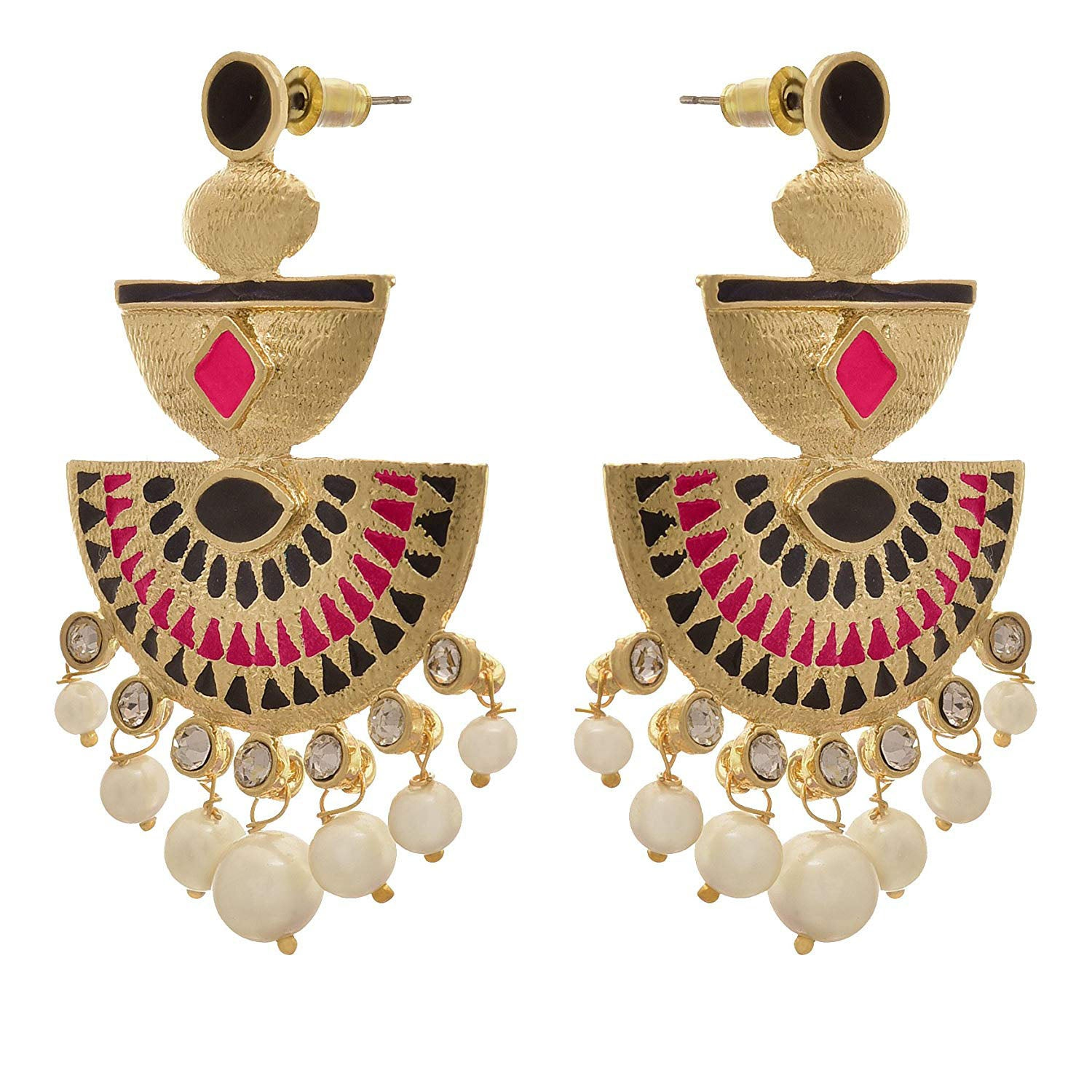 Traditional Ethnic One Gram Gold Plated Meenakari Designer Earring for Girls & Women (Black,Pink,Navy Blue)