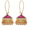Jewellery for Less Traditional And Ethnic One Gram Gold Plated Pearls Meenakari Jhumki Bali Earring For Girls & Women