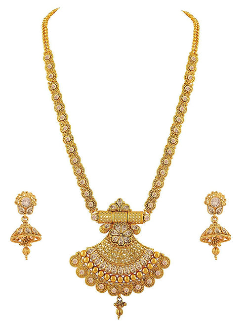 JFL - Jewellery for Less Traditional Ethnic One Gram Gold Plated Floral & Polki American Diamond Designer Long Necklace Set for Women and Girls.