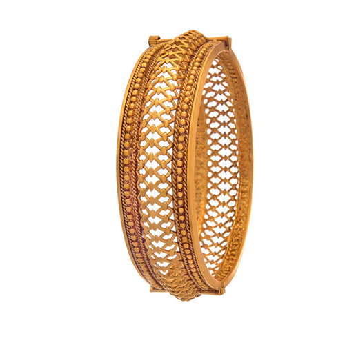 JFL-Traditional Ethnic One Gram Gold Plated Designer Openable Kada for Women & Girls.