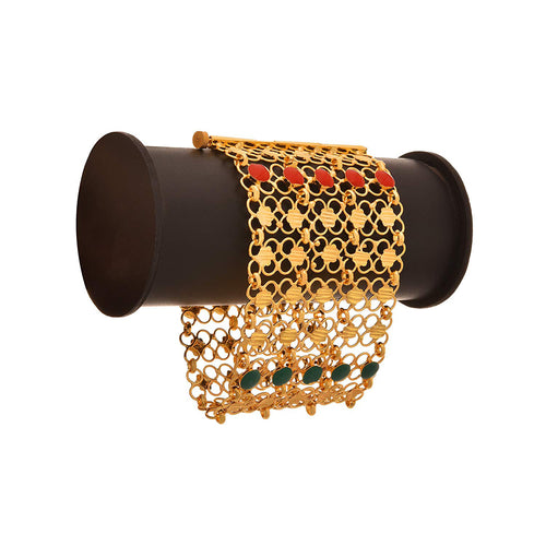 JFL - Traditional Ethnic One Gram Gold Plated Coral Designer with Intricate Jali Work Bracelet for Girls & Women