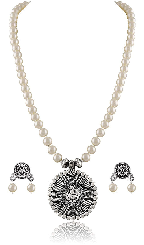 JFL Modern Oxidised German Silver Ganesha Pendant With Beaded Stone Necklace Set for Women and Girls - Party, Casual