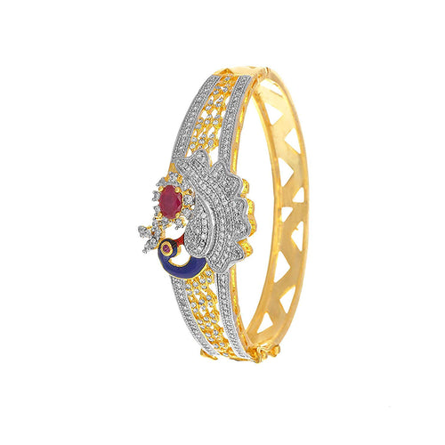 JFL- Fusion Peacock Designer One Gram Plated Cz American Diamonds Meenakari Designer Bangle for Women