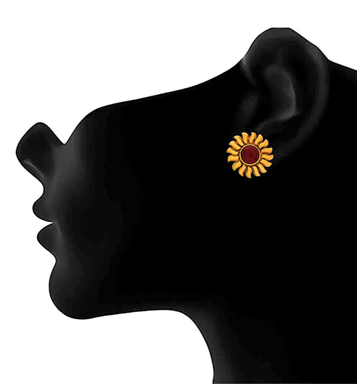 JFL - Traditional Ethnic Gold Plated Sun Designer Stud Earring For Women's
