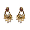 JFL - Jewellery for Less Traditional Ethnic One Gram Gold Plated Blue Stone Pearls Earring For Women & Girls.