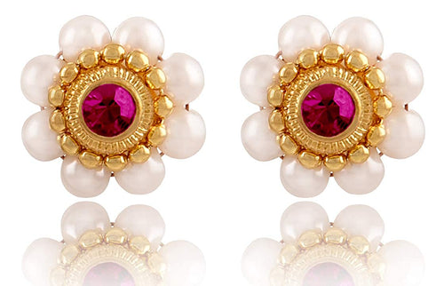 JFL - Jewellery for Less One Gram Gold Plated Floral Pearl Designer Stud Earring for Women & Girls