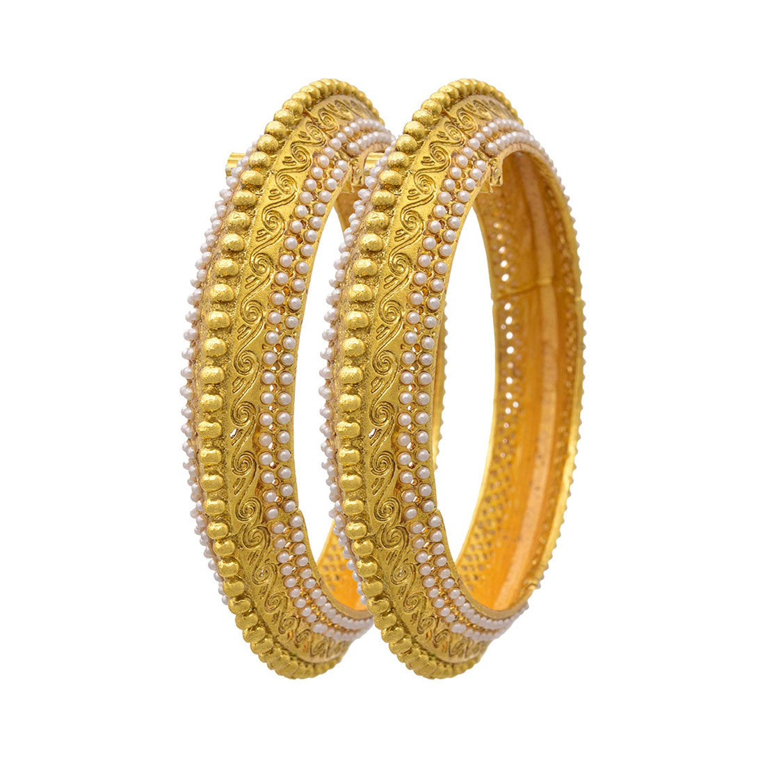 JFL - Traditional & Ethnic One Gram Gold Plated Pearl Designer Openable Bangle for Girls & Women