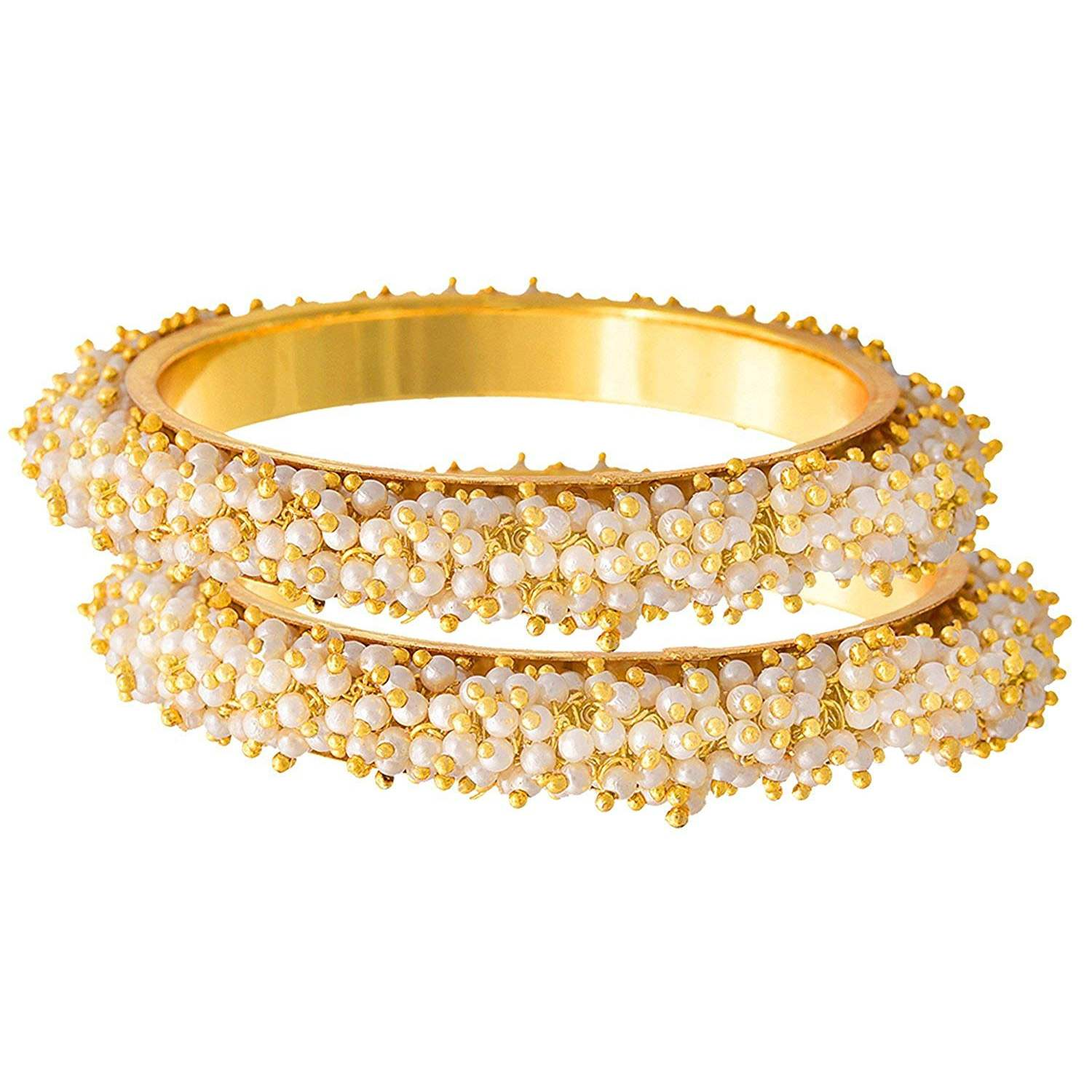 Traditional & Ethnic One Gram Gold plated Designer Bangles with Pearl for Women