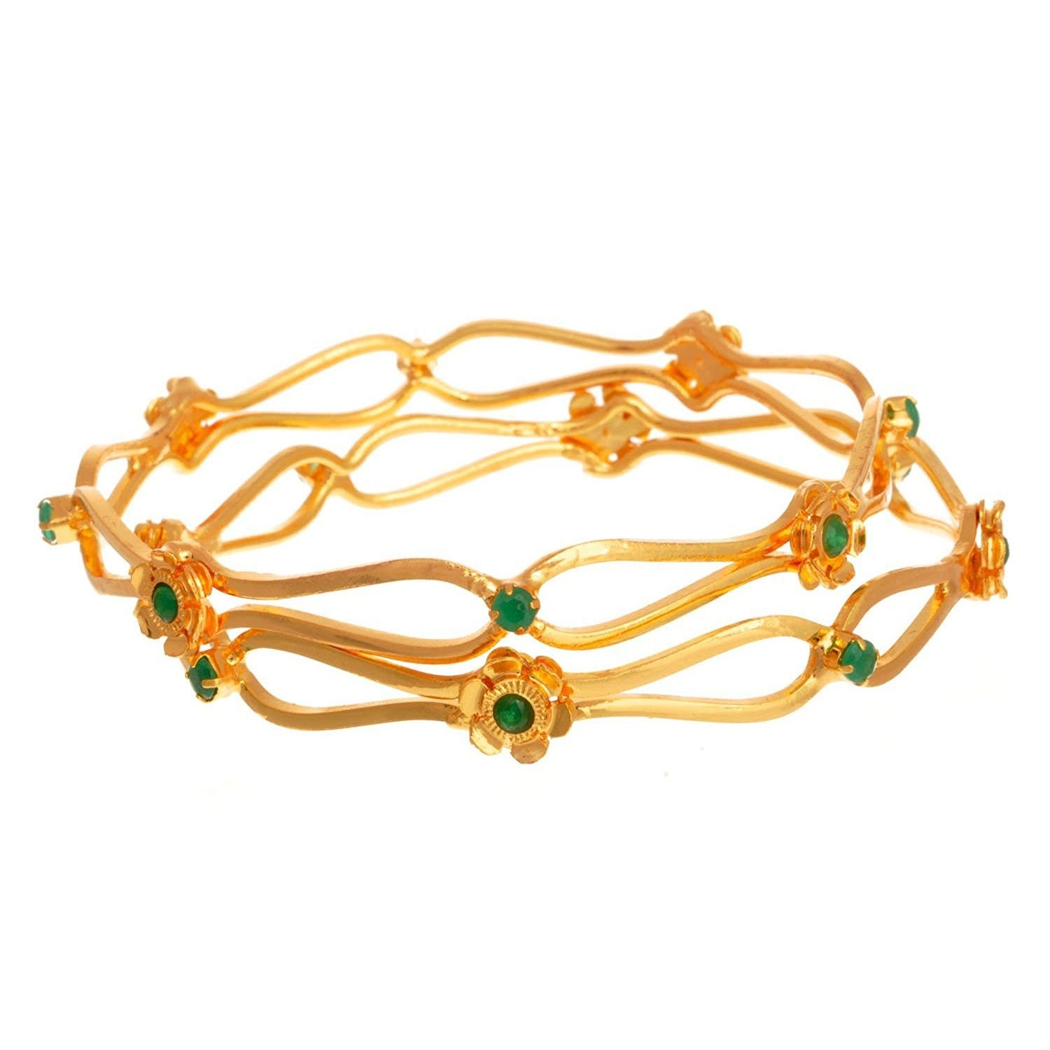 JFL - Traditional Floral One Gram Gold Plated Designer Bangles With Cz Diamonds.