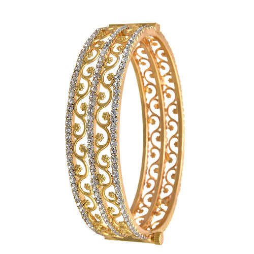BFC- American Diamond Designer Gold Plated Openable Bangle for Woman