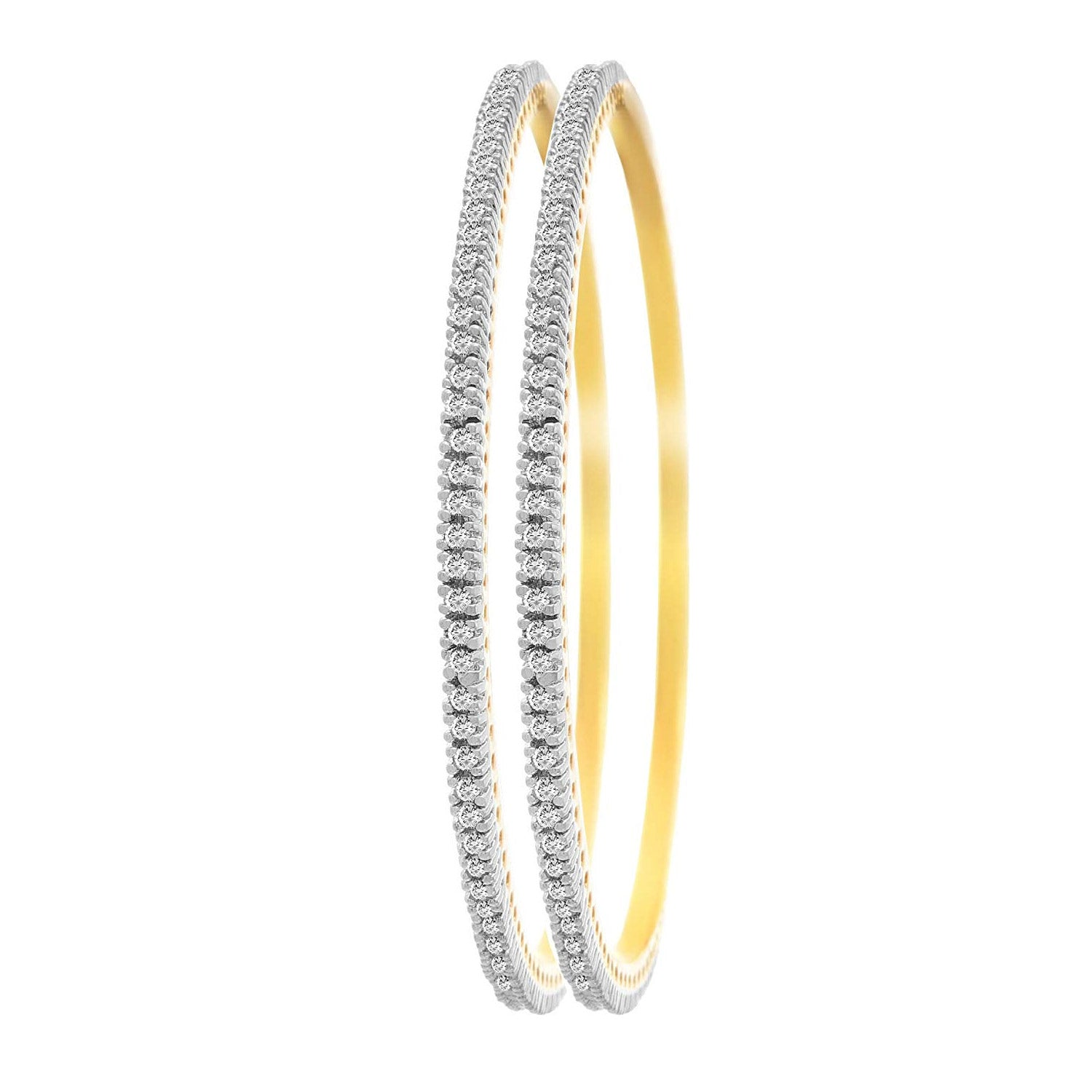 Ethnic Fusion One Gram Gold Plated Cz American Diamond Designer Bangle for Women