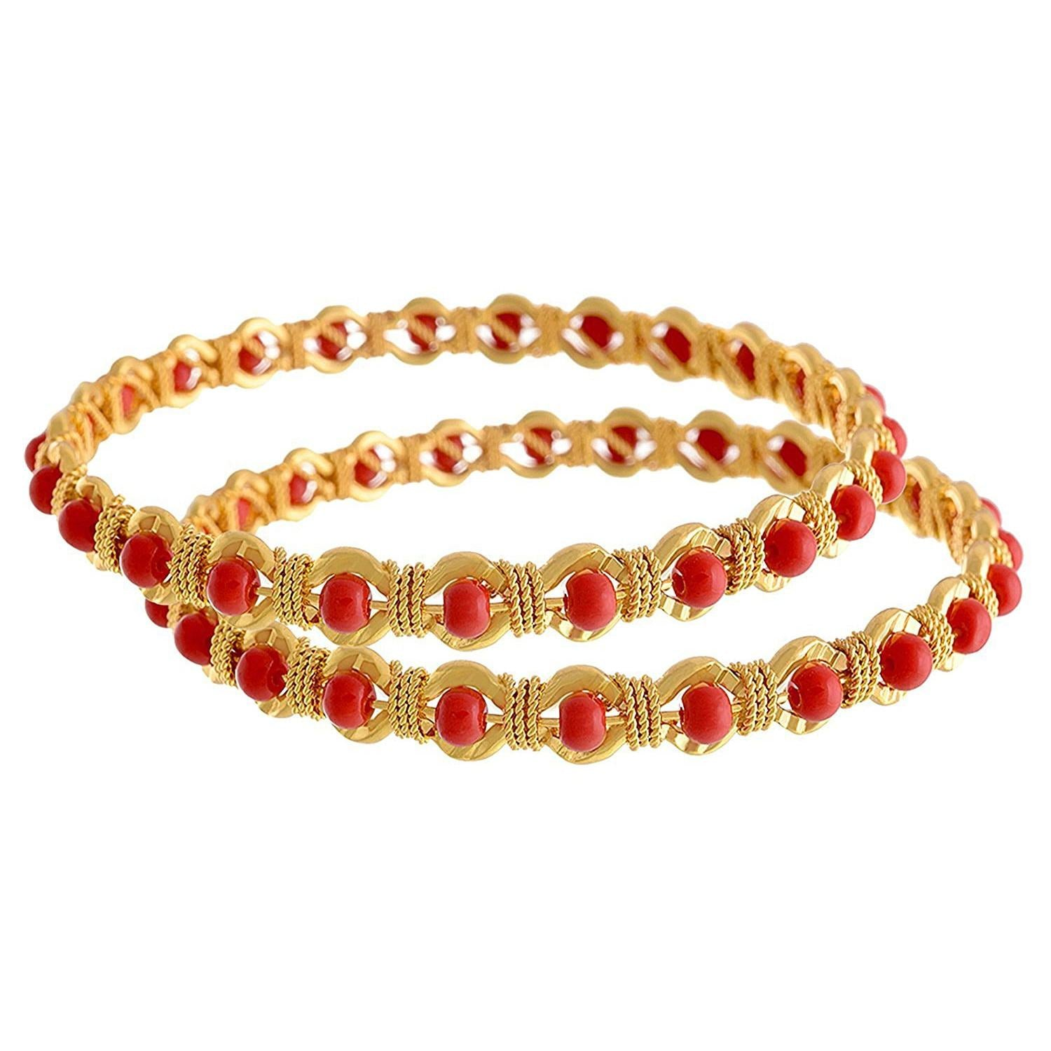 JFL - Traditional Ethnic One Gram Gold Plated Coral Designer Bangle Set for Women & Girls