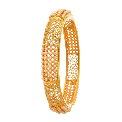 Traditional & Ethnic One Gram Gold Plated Pearls Designer Bangle for Women