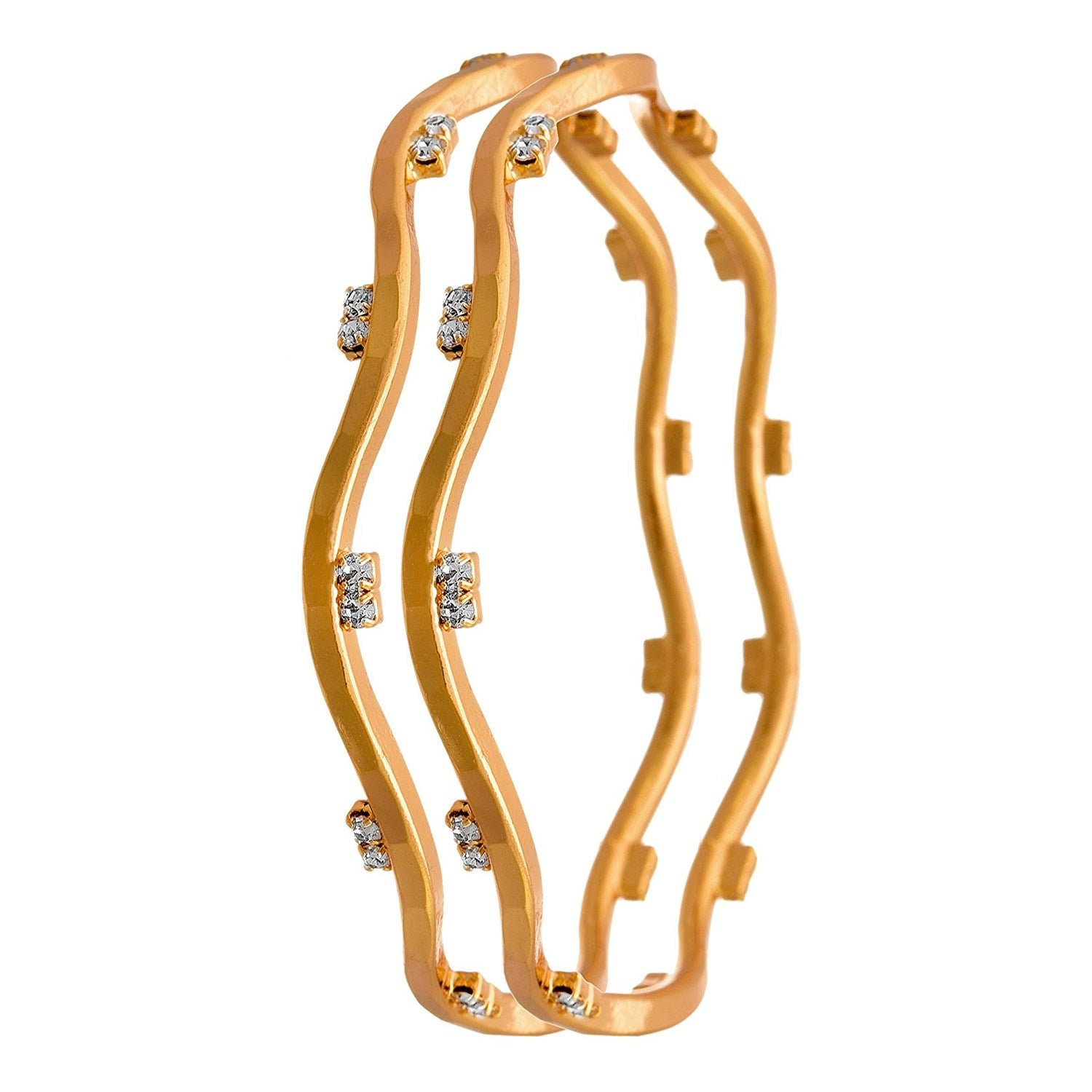 JFL - Traditional Ethnic Fusion One Gram Gold Plated White Austrian Diamond Designer Bangles for Women & Girls