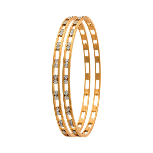 Traditional Ethnic Fusion One Gram Gold Plated White Austrian Diamond Designer Bangle for Women