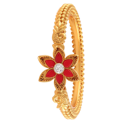 JFL - Jewellery for Less Traditional Fancy Floral Designer Casual Party Red Stone Diamond Hand Work One Gram Gold Plated Bangle Kada for Women.