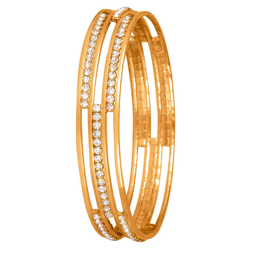 JFL - Jewellery for Less Traditional Fancy American Diamond Designer Casual Party One Gram Gold Plated Bangle Kada for Women & Girls.