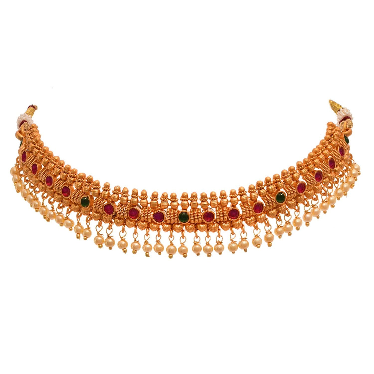 JFL- Jewellery For Less Traditional Ethnic One Gram Matt Gold Plated Bajuband / Armlet With Stone & Pearls For Women & Girls.