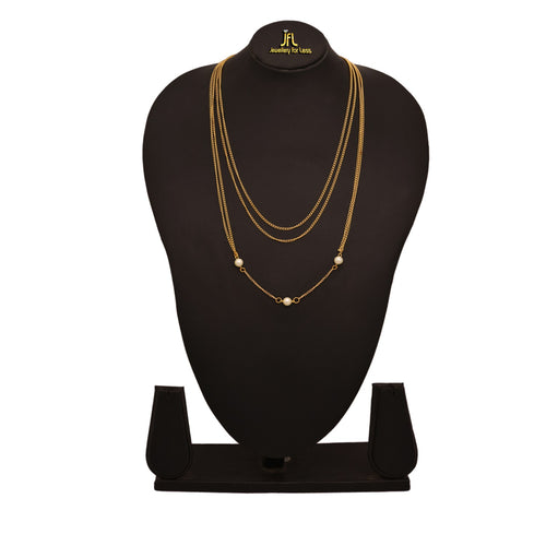 JFL - Jewellery for Less Traditional Ethnic 1g Gold Plated Pearls Designer Multi Strand Chain for Women