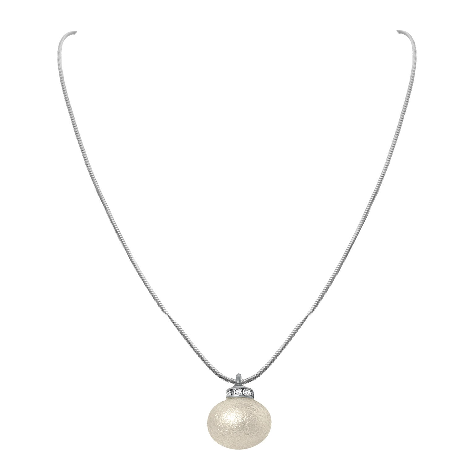 JFL - Silver and Pearl Fusion One Gram Silver  Plated Valenting Gift Designer Chain for Girls & Women.