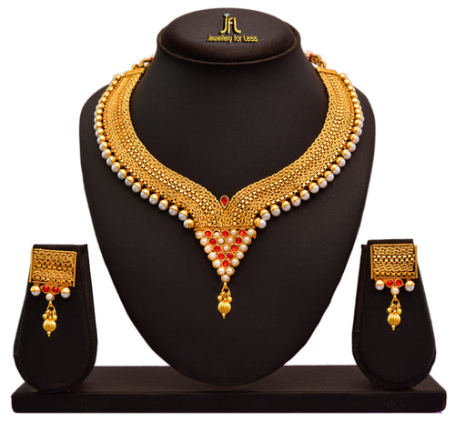 Jfl - Jewellery For Less Traditional Ethnic One Gram Gold Plated Pearls Designer Necklace Set With Earrings For Women & Girls.
