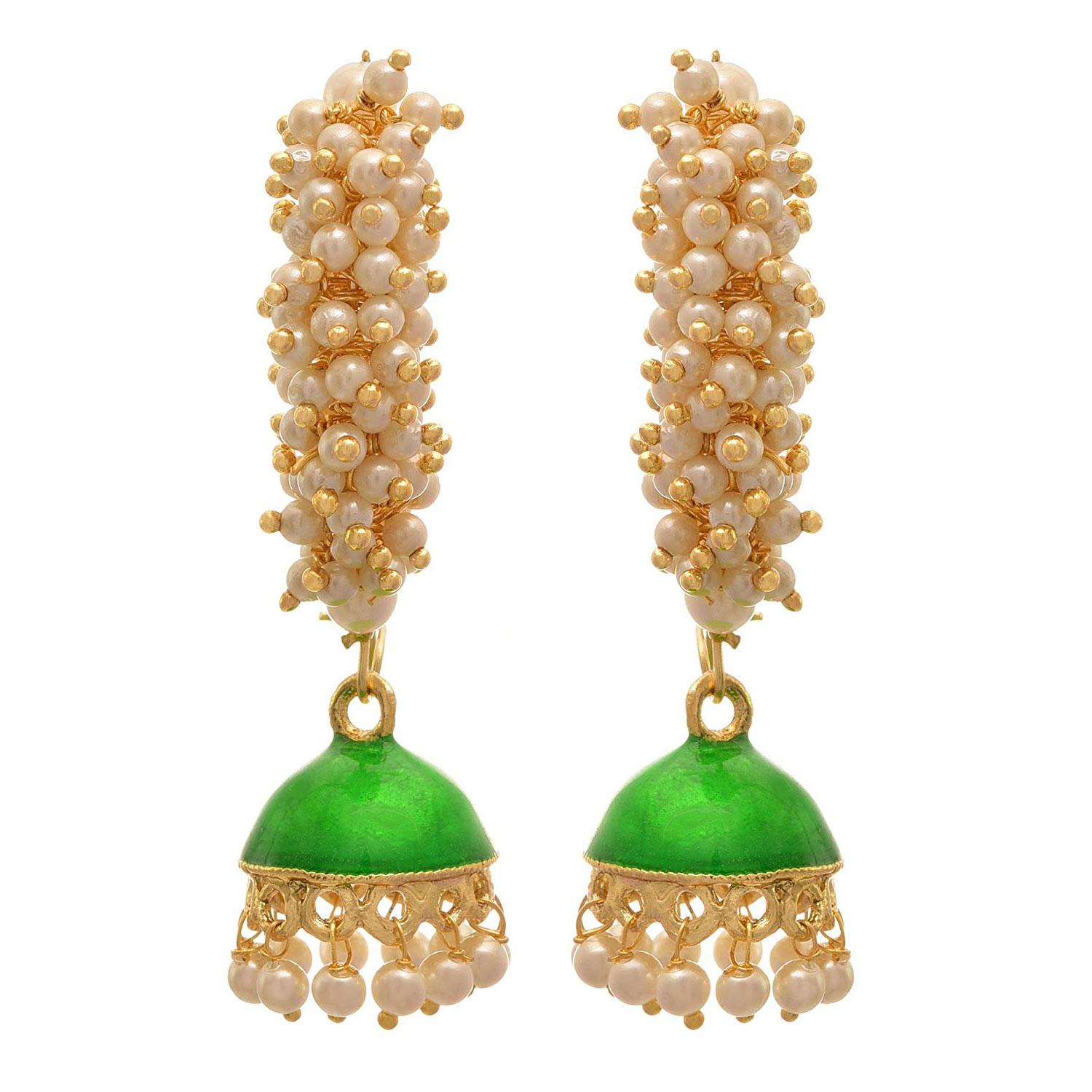 JFL- Traditional and Ethnic One Gram Gold Plated White Pearls Meenakari Designer Jhumki Bali Earring for  Women