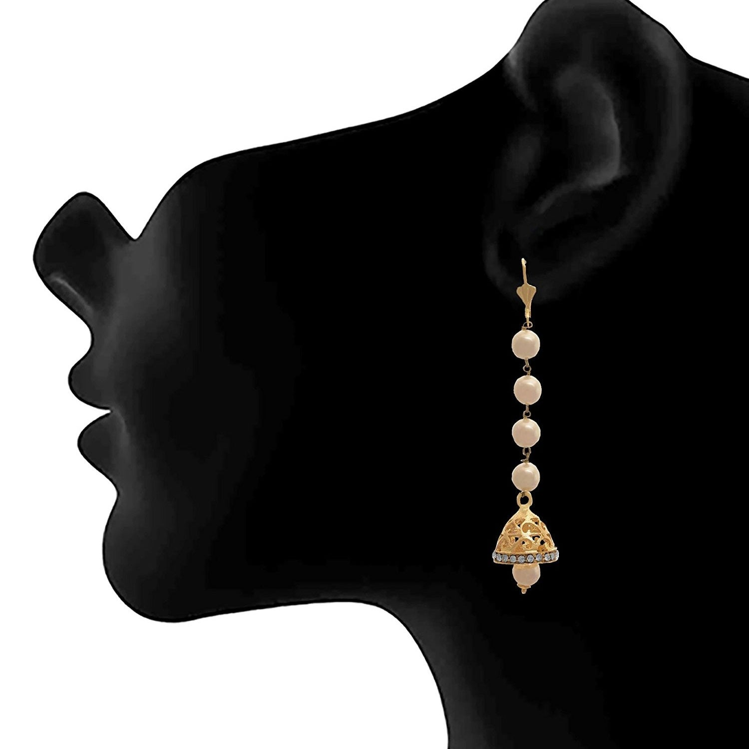 JFL - Traditional Fusion One Gram Gold Plated Pearl & Diamond Designer Earring for Girls and Women.