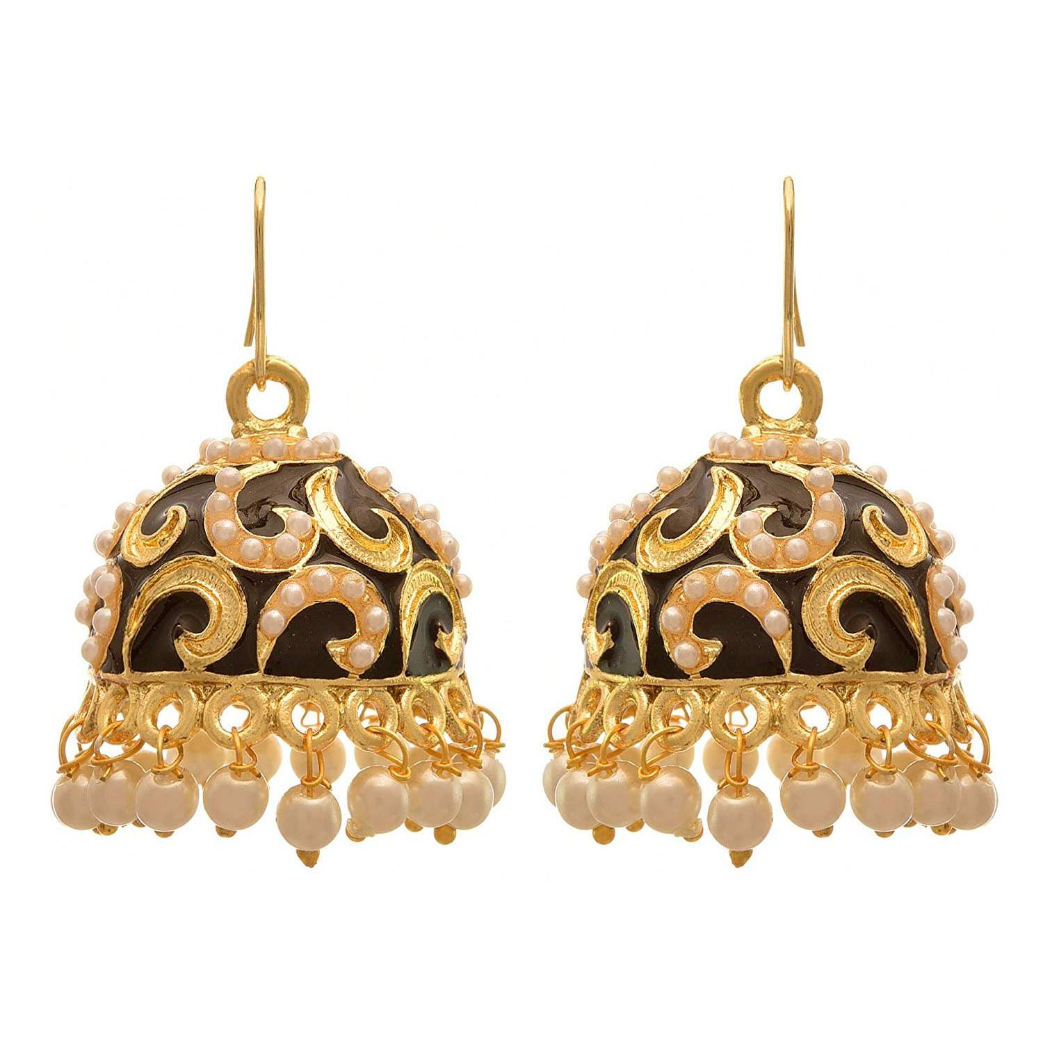 JFL - Fusion Ethnic One Gram Gold Plated Meenakari Designer Jhumki Earring for Women & Girls