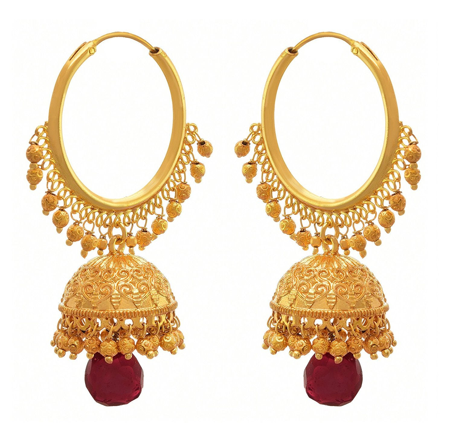 JFL - Traditional Ethnic One Gram Gold Plated Designer Jhumki Earring for Women & Girls.