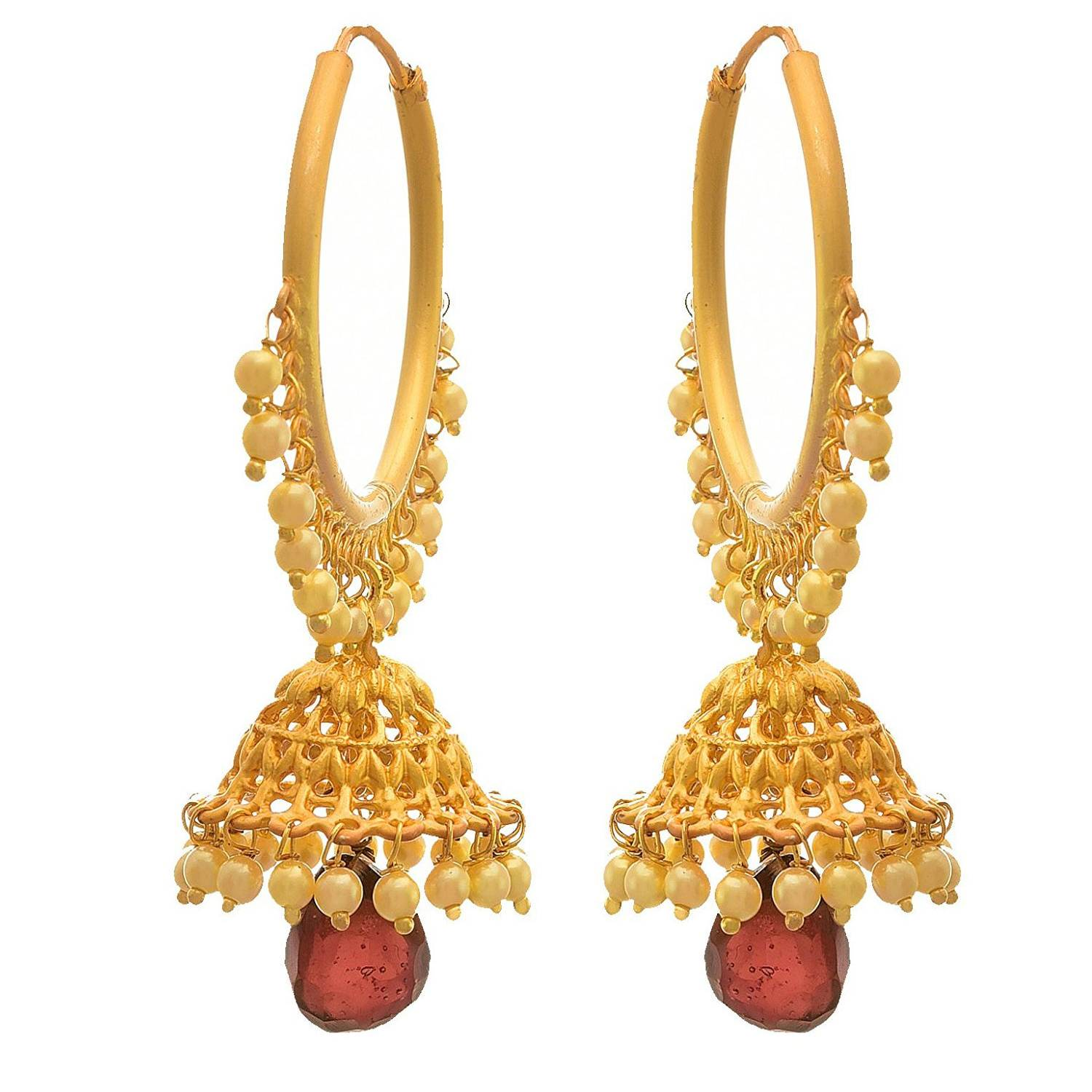 JFL - Traditional Ethnic One Gram Gold Plated Antique Red & Pearl Designer Jhumka Earrings for Girls & Women
