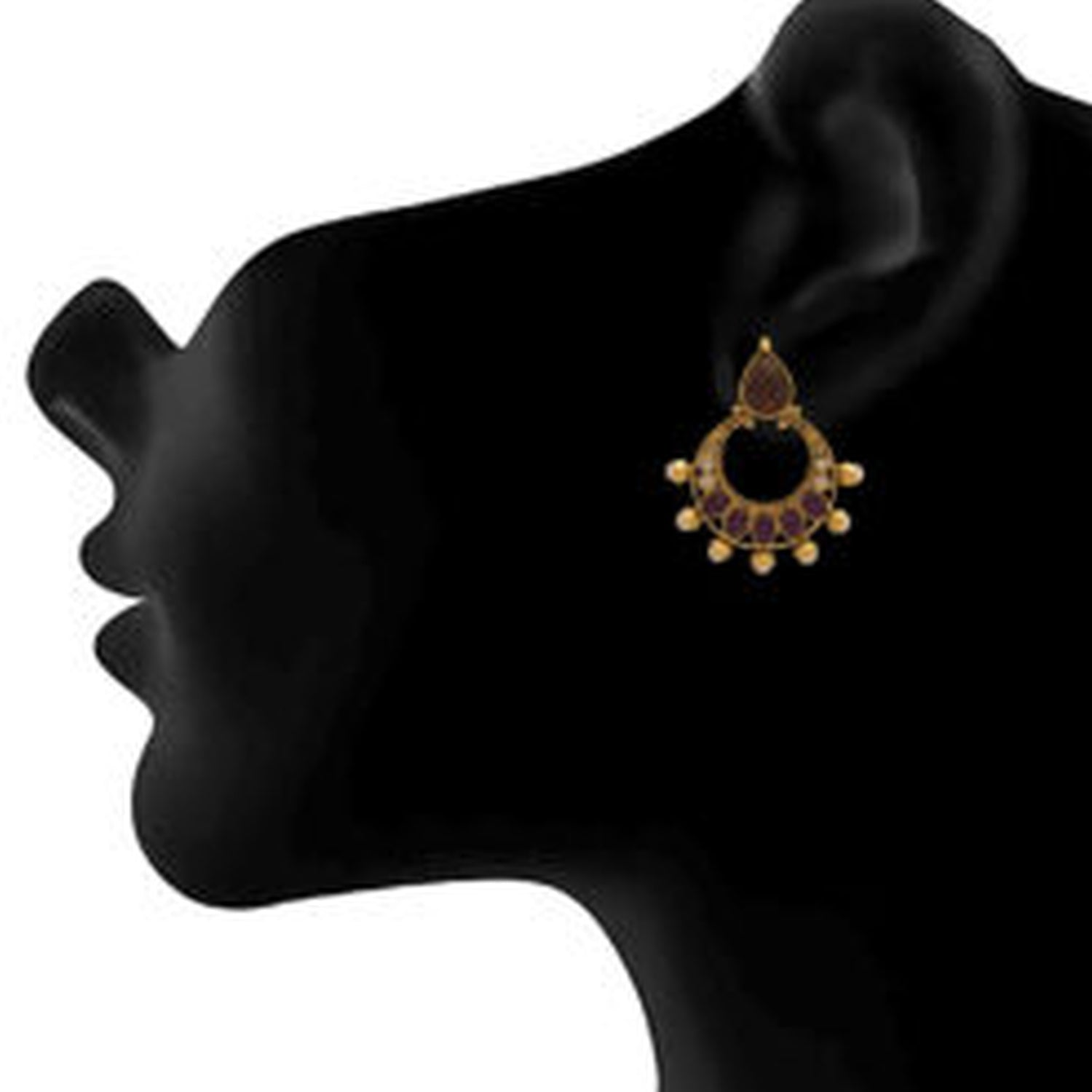 JFL - Jewellery for Less Traditional Ethnic One Gram Gold Plated Pearl Chandbali Earring For Women & Girls.