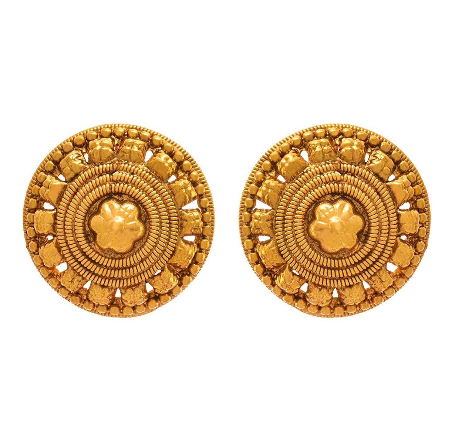 JFL - Jewellery for Less Traditional Ethnic One Gram Gold Plated Stud Earring For Women & Girls