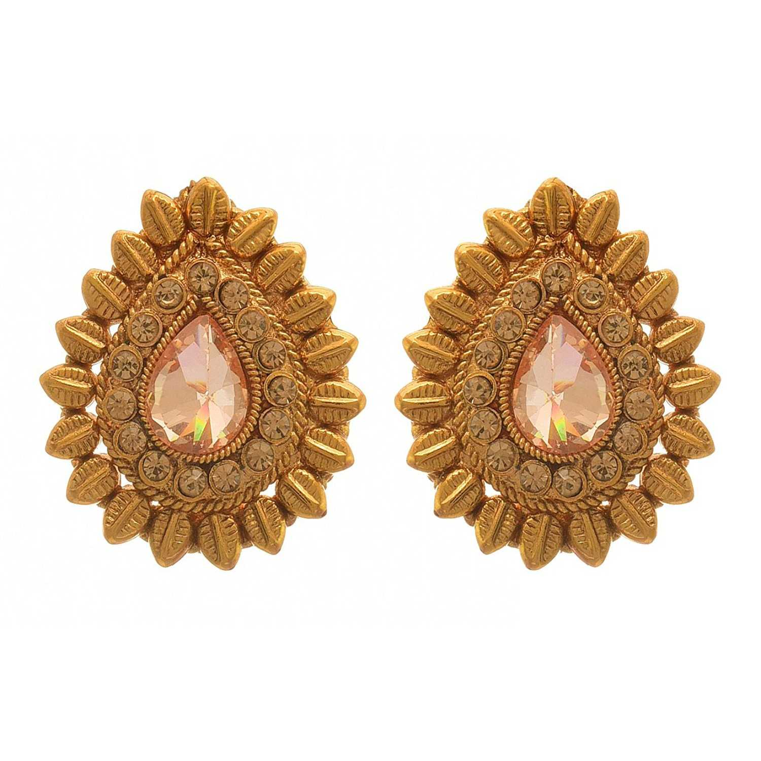 JFL - Traditional Ethnic One Gram Gold Plated LCD Champagne Designer Earrings for Women & Girls.