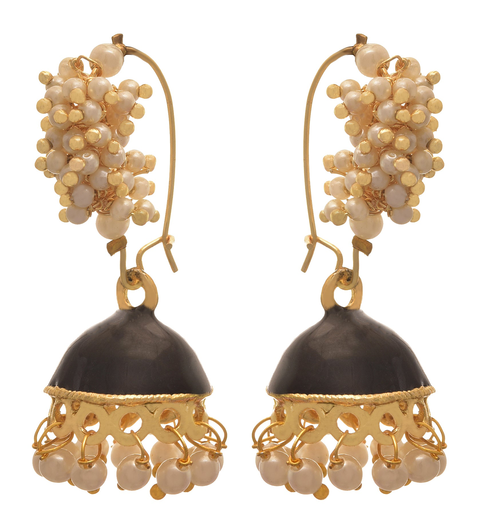 JFL - Traditional and Ethnic One Gram Gold Plated White Pearls Meenakari Designer Jhumki Bali Earring for Girls & Women